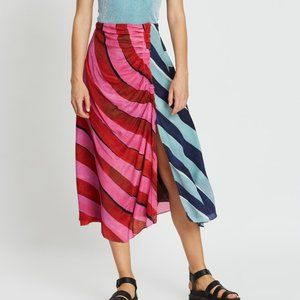 House of Holland Silk Striped Ruched Midi Skirt 4